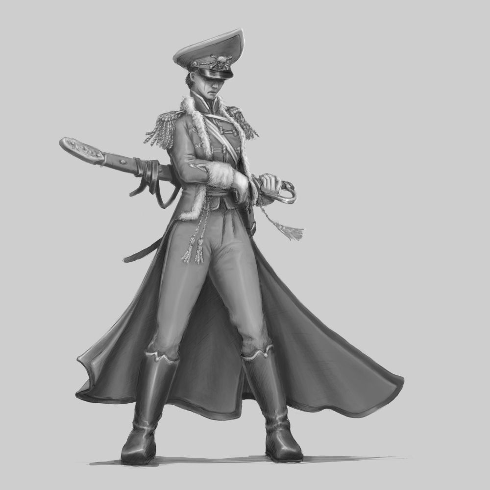 Dress Uniform Female Commisssar Concept Artwork Wargaming