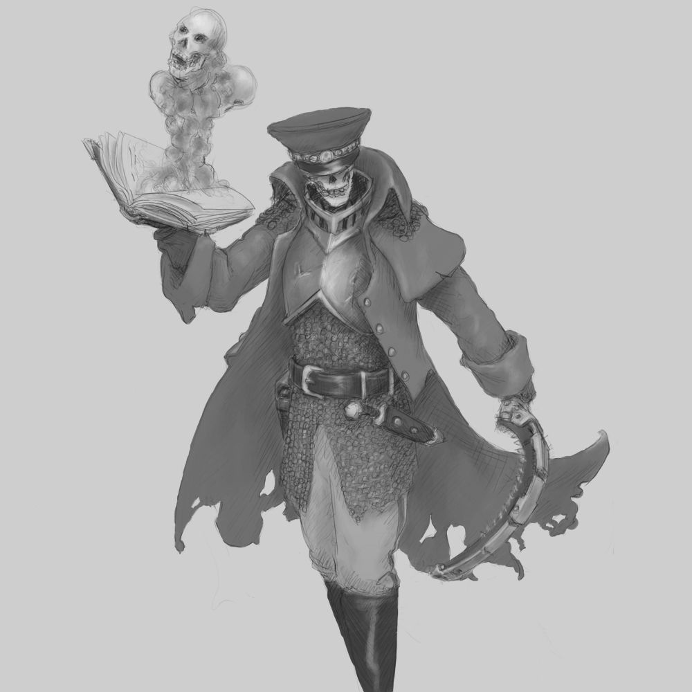 Skeleton Undead Commisssar Concept Artwork Wargaming
